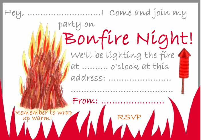 printable firework party invite - Manchester Fireworks